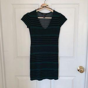 Green and Black Striped Body con Dress